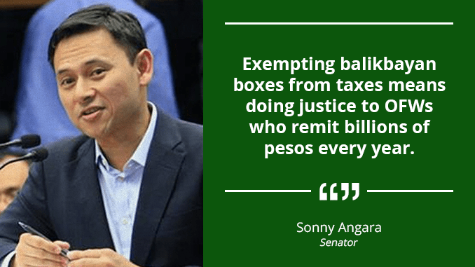 Fast-Track Issuance of Proper Guidelines for Implementation of Tax-Free Balikbayan Boxes – ANGARA