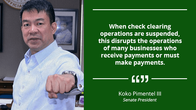 Exclude BSP Check Clearing Unit from Work Suspension Orders – PIMENTEL