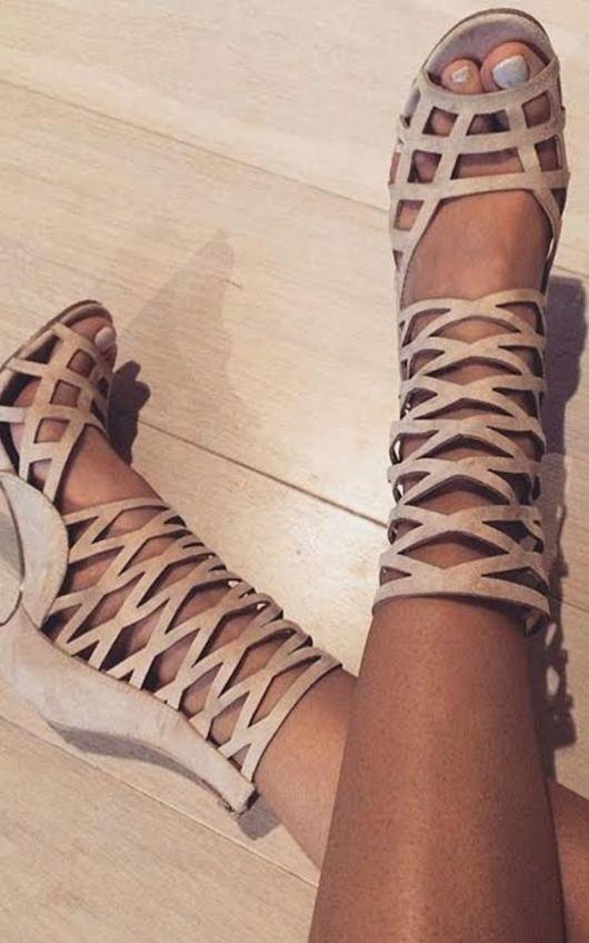 Justina Peep Toe Cage Heels in Cream  ikrush