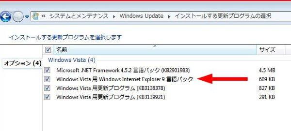 windows updateのオプション項目
