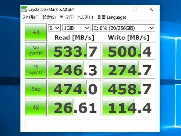 CrystalDiskMark v5.2.0のベンチマーク結果