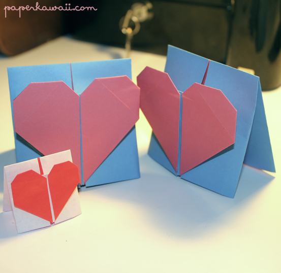 heart origami card 2015