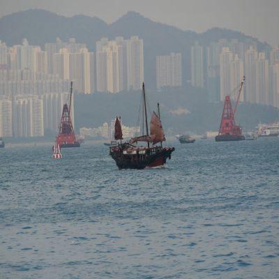 Boat at sea in Hong Kong
