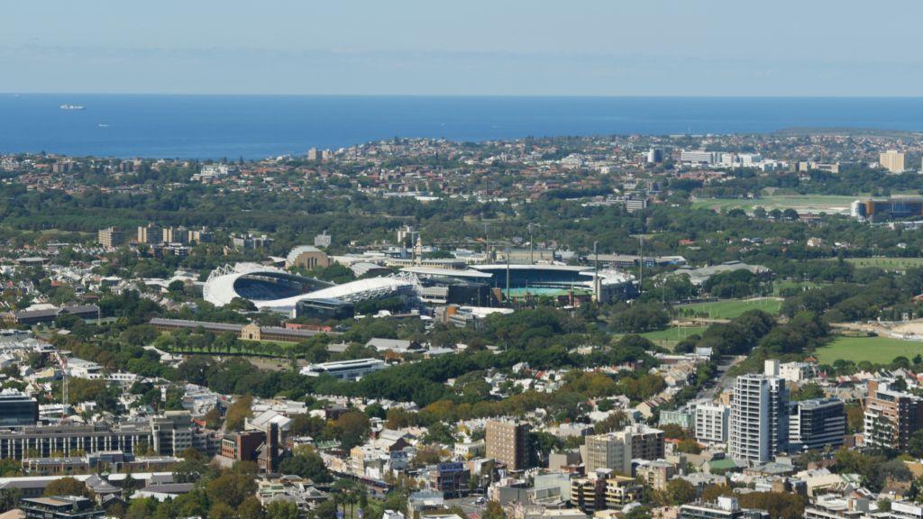 Uitzicht over Sydney met criket en voetbalstadion