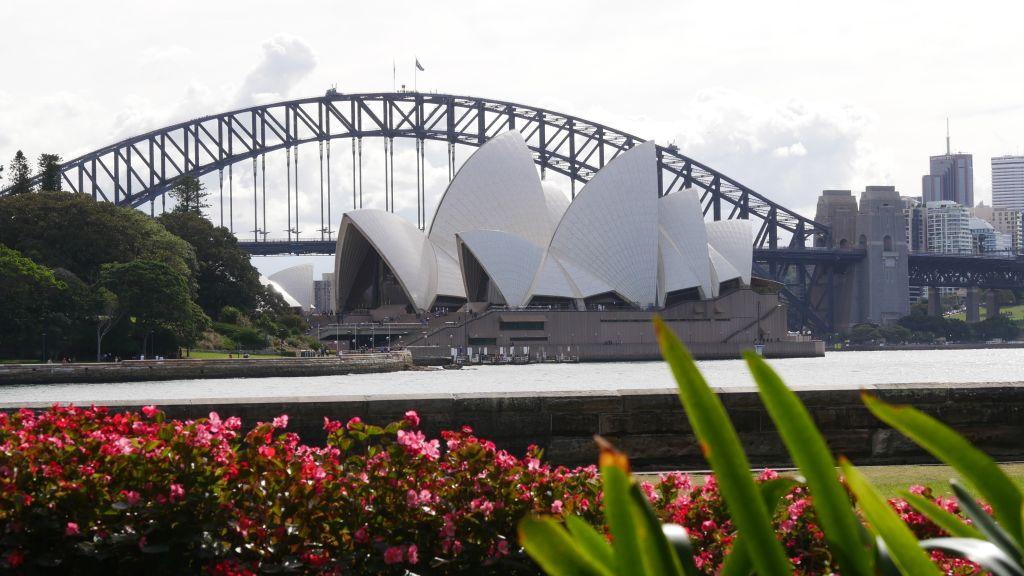 Botanic Gardens met op de achtergrond het Opera House en de Harbour Bridge