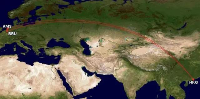 Asia miles - Langste afstanden - Amsterdam - Hong Kong - Brussel