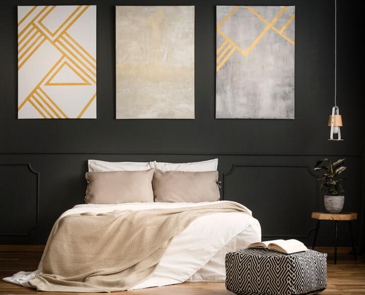Inspiratie chique slaapkamer met donkere muur  Ik woon fijn