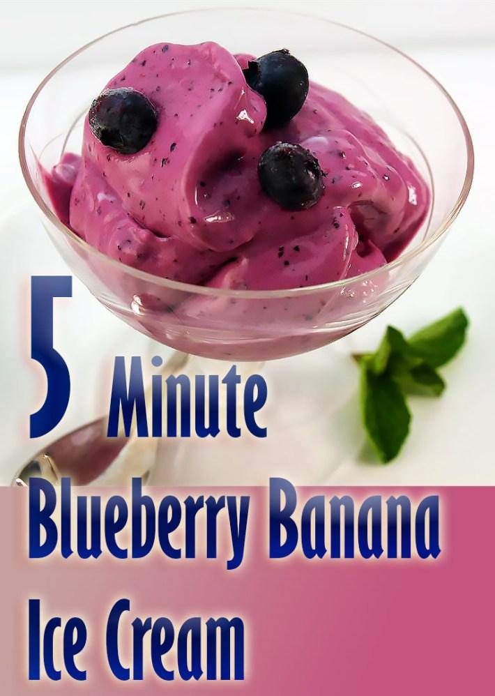 5 Minute Blueberry Banana Ice Cream