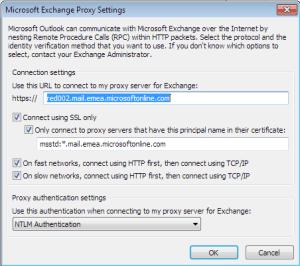 Microsoft Exchange Proxy Settings