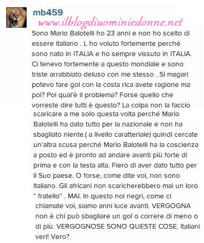 Mario Balotelli scrive su facebook