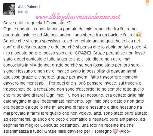 Aldo Palmeri in un messaggio su Facebook scarica  Anna Munafò e abbraccia la redazione