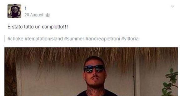 Andrea Pietroni dichiara che Temptation Island è un complotto