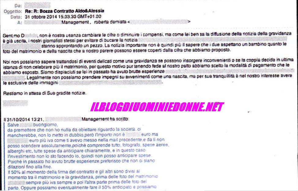 Scambio di Email fra la direttrice di VIP e il manager di Aldo Palmeri e Alessia Cammarota