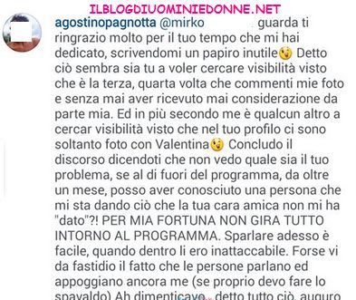 Agostino Pagnotta scambio di accuse su instagram