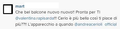Commenti contro Valentina su Instagram