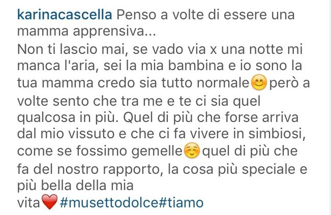 Karina Cascella scrive su instagram