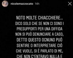 Nicole Mazzocato fa capire di essere arrivata alle vie legali con Fabio Colloricchio