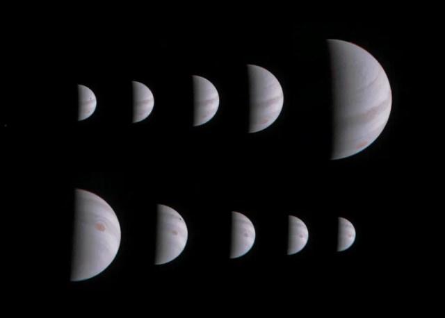 Questa sequenza di immagini ci mostra il primo fly-by della sonda attorno ai poli al pianeta