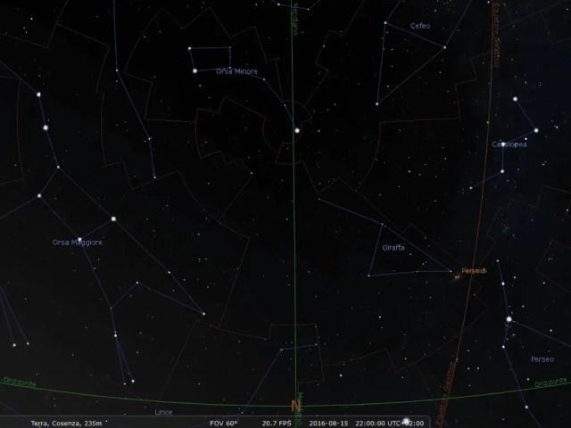 Le costellazioni visibili, alle coordinate spaziali e temporali indicate nell'immagine, guardando verso Nord.