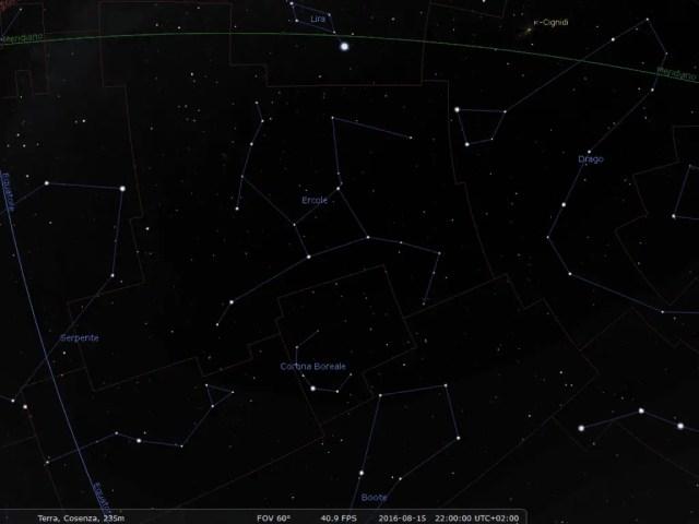 Il cielo visibile allo Zenit in direzione Ovest