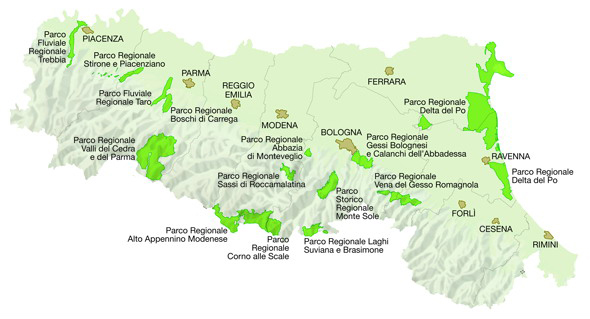 Mappa dei Parchi regionali - Fonte: Regione Emilia-Romagna