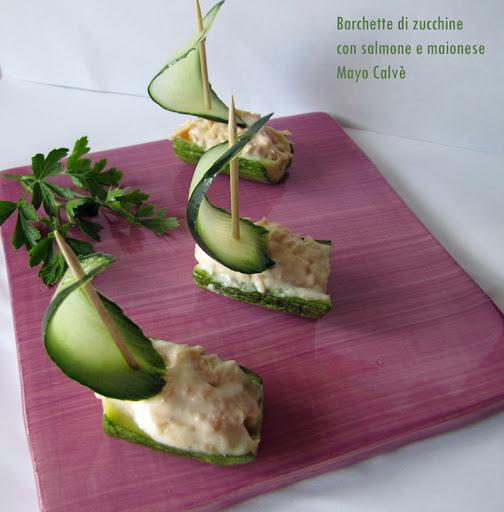Barchette di zucchine con salmone e maionese Mayo Calvè