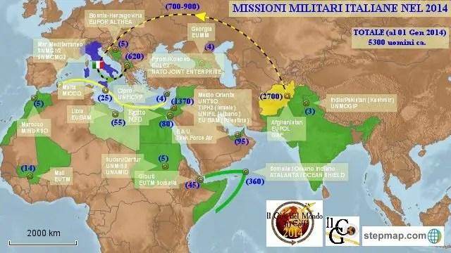 Nella nostra mappa, il dispiegamento delle Forze Armate italiane nel 2014