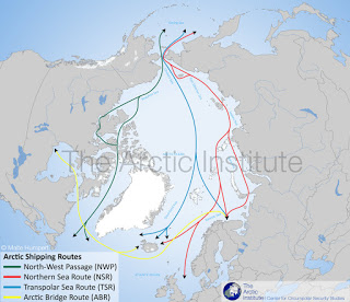Le rotte marittime nell'Artic; fonte: The Arctic Institute: Center for Circumpolar Security Studies