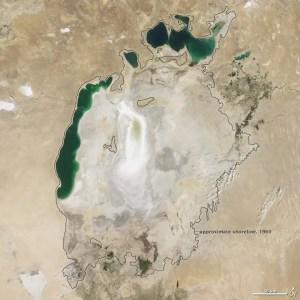 L'attuale stato del lago d'Aral, nel quale confluiscono sia l'Amu Darya che il Syr Darya; Credits: CIA The World Factbook