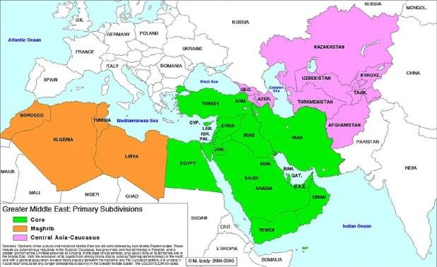 """Mappa del concetto geopolitico di """"Grande Medio Oriente"""""""
