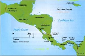 Mappa del Canale di Panama e del Canale di Nicaragua - Geocurrents.info