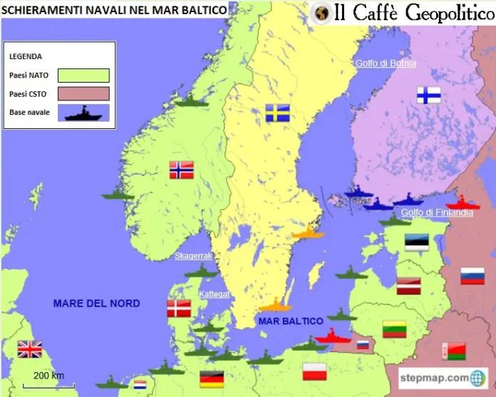 La mappa mostra i sistemi di alleanze e le principali basi navali