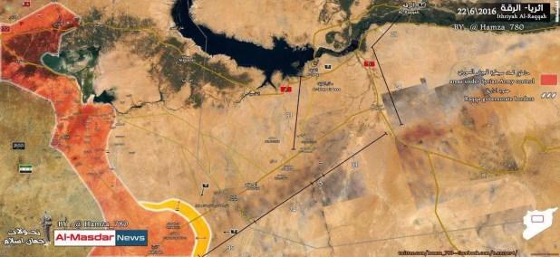 Le truppe di Assad arretrano fino alle posizioni di partenza, 22 giugno 2016 - fonte: Al-Masdar News (filo-Assad)