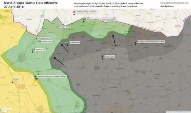 Situazione della zona di Azaz, 27 Aprile 2016. Azaz e i campi profughi sono visibili nella parte verde