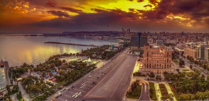 Panorama sul Mar Caspio, Baku (Azerbaijan)