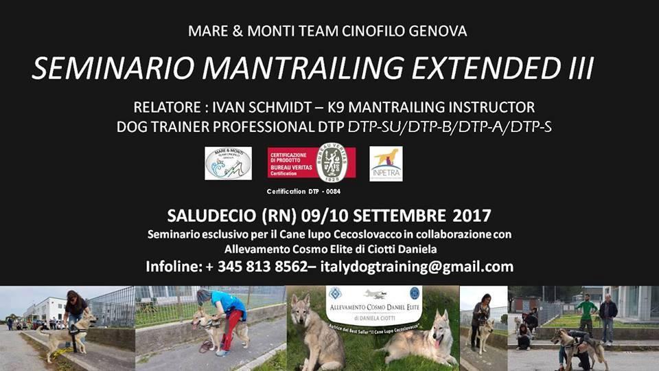 9-10 SETTEMBRE 2017 – Corso di Mantrailing Extended III