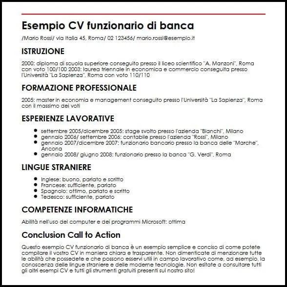 Esempio Cv Funzionario Di Banca Ilcvperfetto