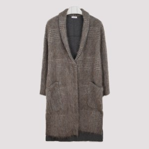Brunello Cucinelli - Brown Checkered Long Cardigan M