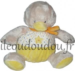 poussin ou canard peluche jaune et blanc etoiles