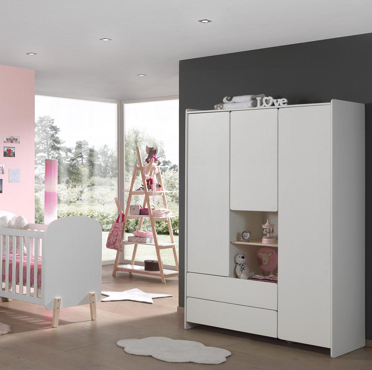 armoire 3 portes macaron blanc
