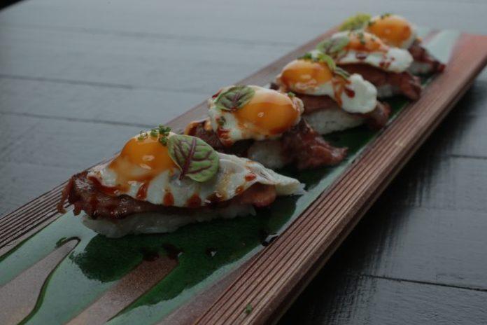nigiri-manzo e uova di quaglia