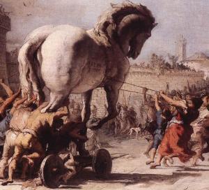 Il trasporto del Cavallo di Troia dentro le mura della Città, quadro di Giovanni Domenico Tiepolo