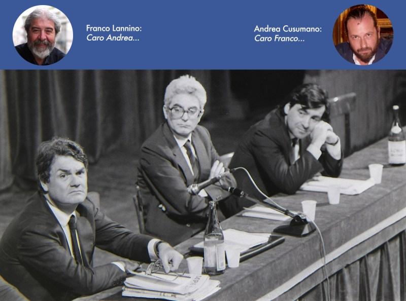 Lillo Mannino, Sergio Mattarella e Leoluca Orlando nel 1986 al teatro Biondo in occasione di un convegno della Democrazia Cristiana