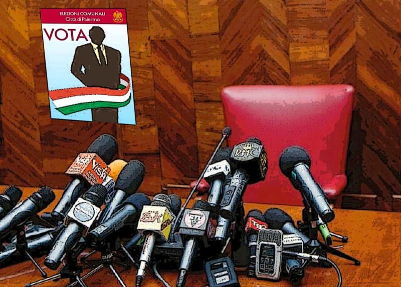 Sedia vuota davanti i microfoni della stampa. Cuffaro assente alla presentazione della lista Cantiere Popolare che appoggia Ferrandelli alle elezioni comunali di Palermo 2017palermo