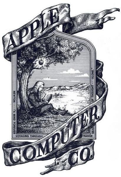 Il primo logo Apple era un'immagine abbastanza antiquata di Isaac Newton seduto sotto il fatidico albero, con una mela che incombeva sopra la sua testa.