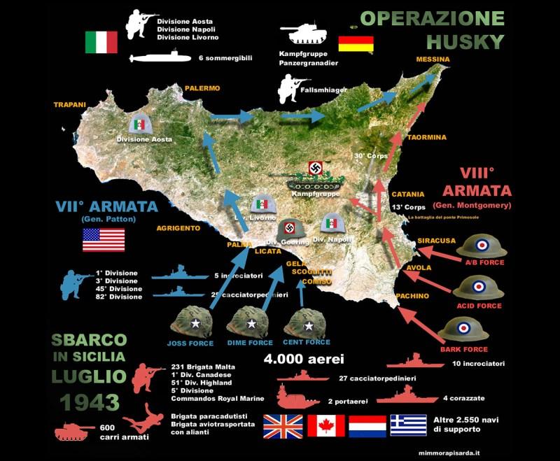 Infografica dello sbarco in Sicilia