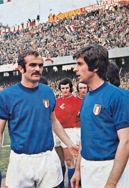 Sandro Mazzola e Gianni Rivera con la maglia della nazionale italiana ai mondiali di Città del Messico
