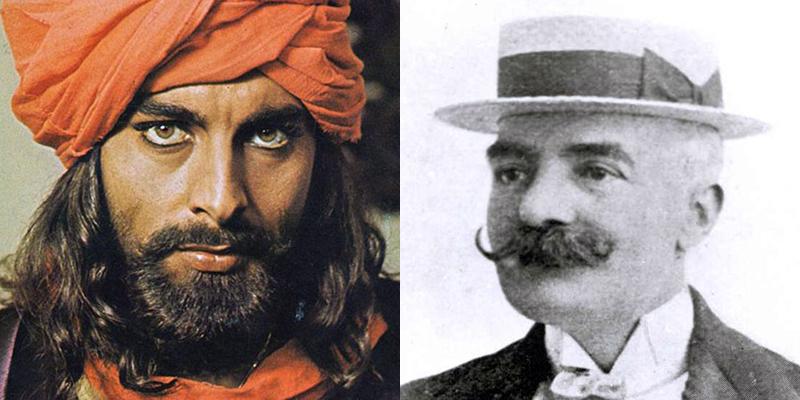 Sandokan, interpretato da Kabir Bedi, ed Emilio Salgari