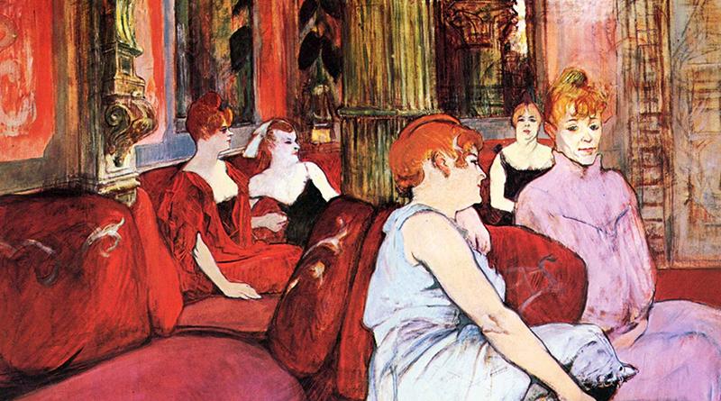 """Prostitute """"Au Salon de la rue des Moulins"""", dipinto di Henri de Toulouse-Lautrec che raffigura una nota casa chiusa parigina verso la fine del XIX secolo"""