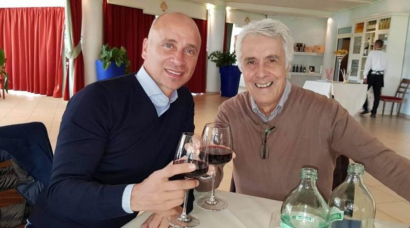 Corini, capitano e allenatore Palermo calcio, brinda con Benvenuto Caminiti